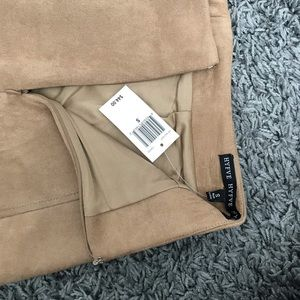 HYFVE Skirts - Scalloped Suede Camel Skirt -Dry Goods